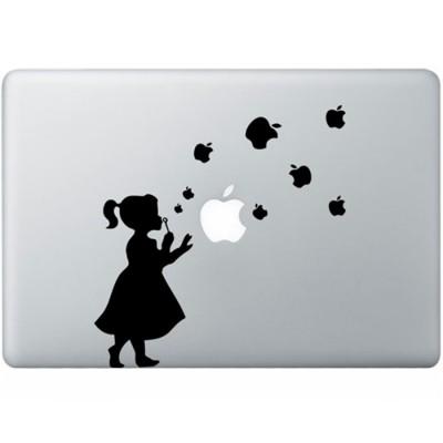 Bläst Blasen Mädchen MacBook  Aufkleber Schwarz MacBook Aufkleber